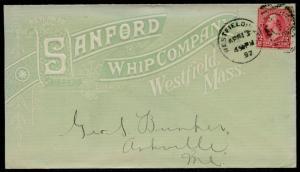 1897 ON FULL FRONT ILLUST. GREEN & WHITE ADVT COVER SANFORD WHIP Co. BQ2461