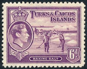 Turks & Caicos Islands 1938 6d Mauve SG201 MVLH