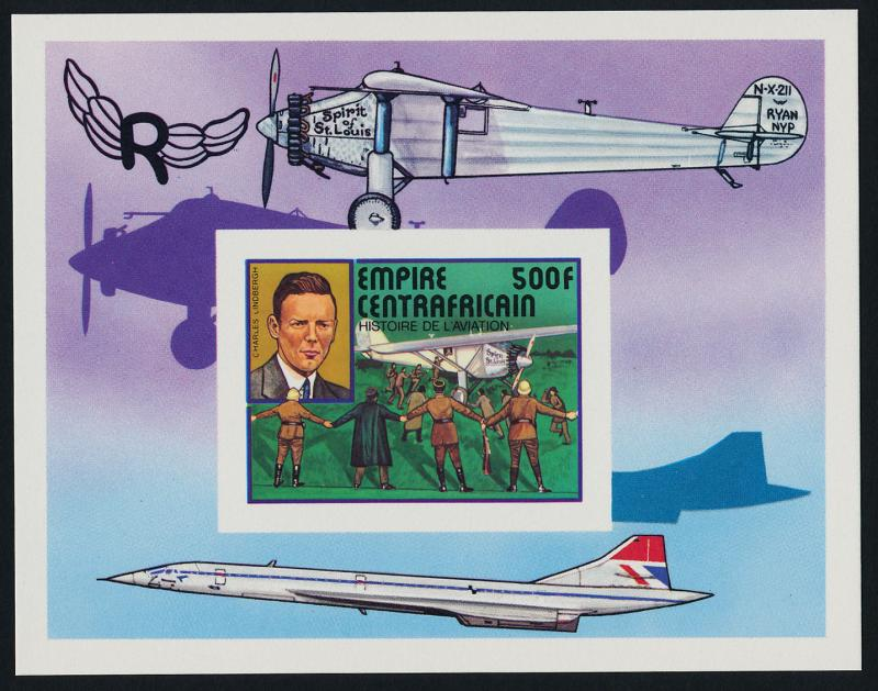 Central Africa 302 deluxe sheet MNH Lindbergh, Spirit of St Louis, Concorde