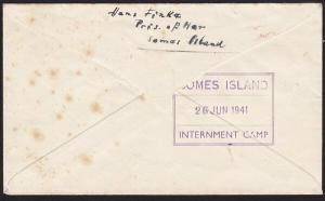 NEW ZEALAND 1941 cover ex SOMES ISLAND P.O.W. CAMP..........................8956