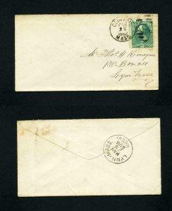 Cover from Clinton, Massachusetts to Lynn, Massachusetts dated 3-28-1882