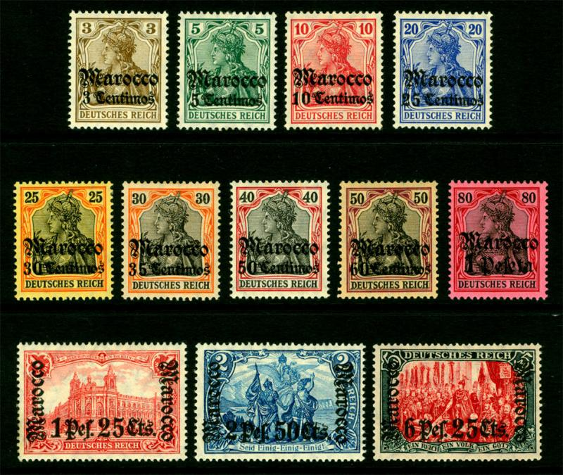 German Colonies -Offices in MOROCCO 1906-11 SURCHARGED set wmk Sc# 33-44 mint MH