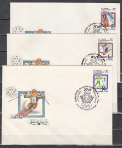 Russia, Scott cat. 6056-6058. Winter Sports on 3 First day Covers.