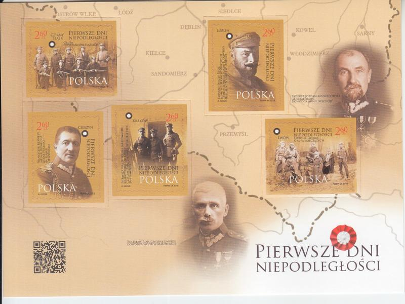 2018 Poland First Days of Independence SA MS5 (Scott NA) MNH