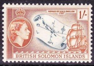 BRITISH SOLOMON ISLANDS 1961 1/- Slate & Orange Brown SG91a MH