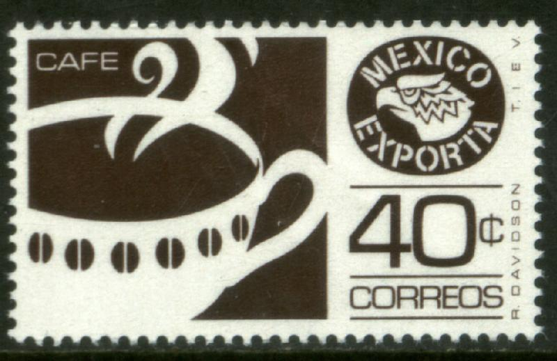 MEXICO EXPORTA 1111, 40cts. COFFEE PAPER 1, DARK BROWN. MNH