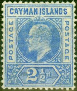 Cayman Islands 1905 2 1/2d Bright Blue SG10a Dented Frame Fine Mtd Mint