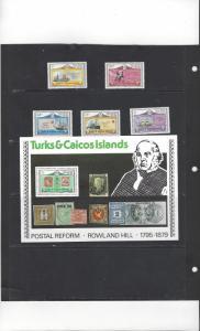 Turks & Caicos 391-5a MNH Sir Rowland Hill Centenary