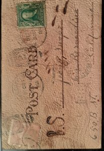 leather post card 1906 with scott# 319 and # 300 military cancelations