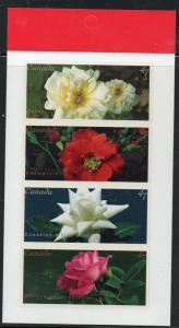 Canada Sc 1914a 2001  Roses  stamp booklet pane mint NH
