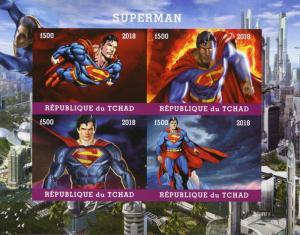 Chad 2018 MNH Superman 4v IMPF M/S Superheroes DC Comics Stamps