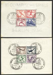 1936 Germany Summer Olympic Games semipostal souvenir sheets SS used Sc# B91 B92