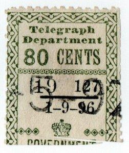 (I.B) Ceylon Telegraphs : Provisional 80c (1896)