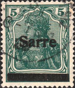 SARRE / SAARGEBIET - 1920 - Mi.4a.I 5pf type 1 dark opal-green - very fine used