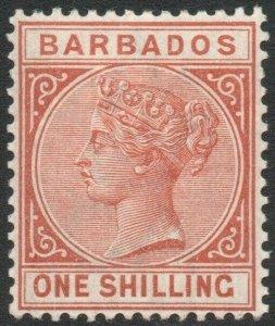 BARBADOS-1886 1/- Chestnut Sg 102 LIGHTLY MOUNTED MINT V46277