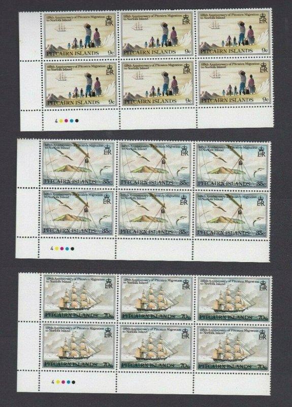 PN160) Pitcairn Islands 1981 125th Anniversary of Migration MUH blocks of 6