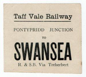 (I.B) Taff Vale Railway : Parcel Label (Pontypridd to Swansea)