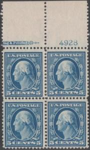 #335 BLOCK OF 4 WITH PLATE NO. 4928 IMPRINT; VF OG NH BN9538