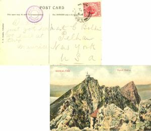 Gibraltar 1d KEVII 1909 Gibraltar, 25 PPC (Signal Station) to Pelham, N.Y. wi...