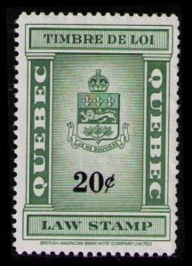 QUEBEC REVENUE TAX 1962 RARE 20c #QL110 VF MNG NH LAW STAMP CAT $15.00