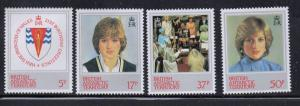 British Antarctic Territory Sc 92-5 1982 Diana 21 st Birthday stamps mint NH