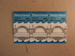 USPS Scott 2405-09 25c 1989 Steamboats 3 Books Of 20 60 S...