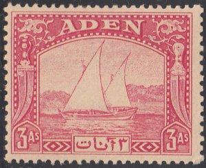 Aden 1937 MH Sc #6 3a Dhow toned gum