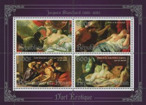 Erotic Art Paintings Jacques Blanchard Souvenir Sheet of 4 Stamps Mint NH