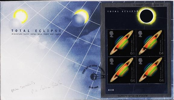 Great Britain. FDC.1999. Solar Eclipse Miniature Sheet. Fine Used