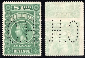 NFR6a with Large C.H. cancel *, heavy offset, $1 green, VF, Inl
