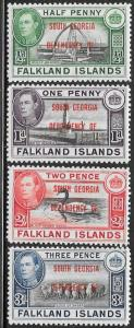 Falkland Islands - S. Georgia 3L1-3L4 Unused/Hinged - George VI - Short Set