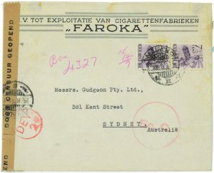 93721 - DUTCH INDIES Indonesia - POSTAL HISTORY - CENSORED COVER  to  AUSTRALIA