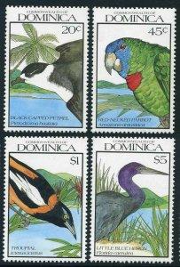 Dominica 1242-1243-1245-1248,MNH. Birds 1990.Petrel,Parrot,Troupial,Heron.Set 2.