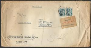 URUGUAY 1949  Registered airmail cover to New Zealand......................11471