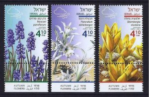 ISRAEL 2019 AUTUMN FLOWERS SET OF 3 STAMPS MNH FLORA
