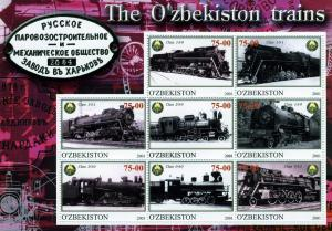 Uzbekistan 2001, Steam Train Sheet (8) Perforated mnh.vf