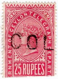 (I.B) Ceylon Telegraphs : 25R Rose-Carmine (1881)