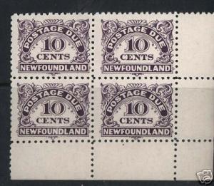 Newfoundland #J6 VF/NH Corner Block
