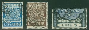 ITALY #162-4 Complete set, used, Scott $97.50