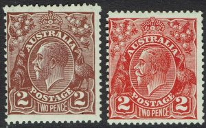 AUSTRALIA 1926 KGV 2D BROWN AND 2D RED SMALL MULTIPLE WMK PERF 13½ X 12½