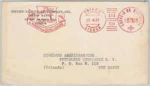 PORTUGAL  -  MECHANICAL POSTMARK on COVER 1951 - PETROL cars