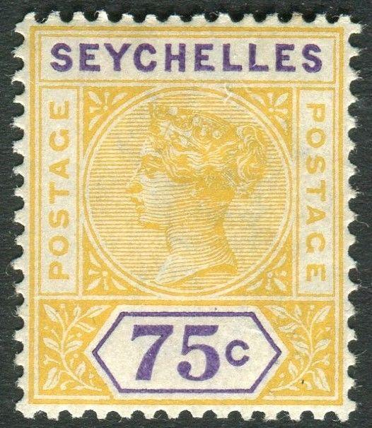 SEYCHELLES-1900 75c Yellow & Violet.  A lightly mounted mint example Sg 33