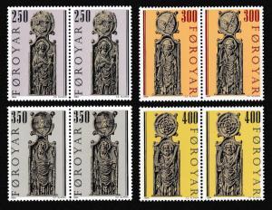 Faroe Is. Pews of Kirkjubour Church issue 1984 4v in pairs SG#90-93 SC#102-105