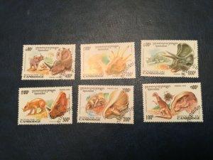ICOLLECTZONE Cambodia #1409-14 XF Used Dinosaurs  (Bk1-30)