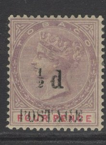 TOBAGO SG33a 1896 ½d on 4d LILAC & CARMINE SPACE BETWEEN ½ AND d MTD MINT TONED
