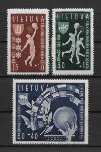 Lithuania 1939, Sports Basketball set, Scott # B52-B54, VF Mint Hinged*OG