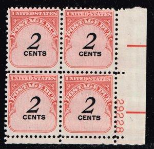 US STAMP # J90 1959-85 Postage Due Stamp PL # BLK Of 4 MNH/OG