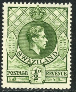 SWAZILAND 1938 KGVI 1/2d Portrait Issue Sc 27 MLH