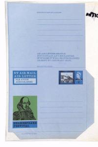 AV370 QEII GB Air letter SHAKESPEARE Illustrated Postal Stationery CANCELLED
