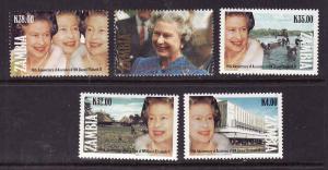 Zambia-Sc#561-5-unused NH set-QEII-Accession 40th anniversary-1992-